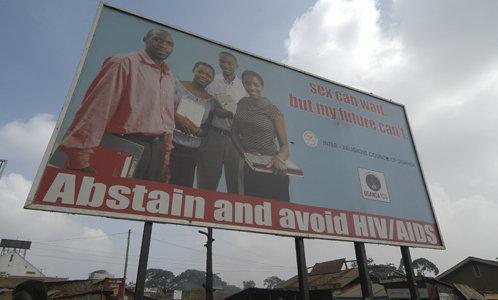 A billboard in Uganda promoting abstinence.