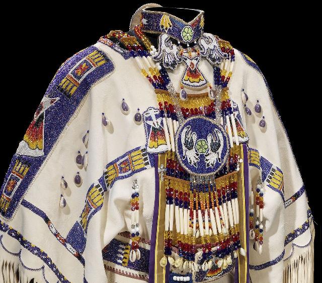 Cheyenne three-hide dress, ca. 1995. Made by Rebecca Brady (Cheyenne