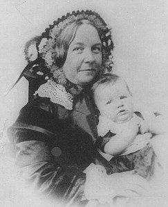 Elizabeth Cady Stanton and her daughter, Harriot, who would later go on to continue her mother's fight.