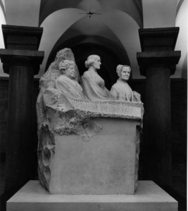 This statue honoring Elizabeth Cady Stanton, Lucretia Mott, and Susan B. Anthony was given to the U.S. by sculptor Adelaide Johnson in 1921; it was relegated to the basement of Congress until 1997.