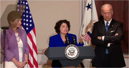 Lynn Rosenthal (center) between Valerie Jarrett and Biden